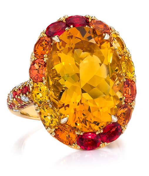 Cellini Jewelers Oval Citrine and Orange Sapphire Ring Set in 18 Karat Yellow Gold