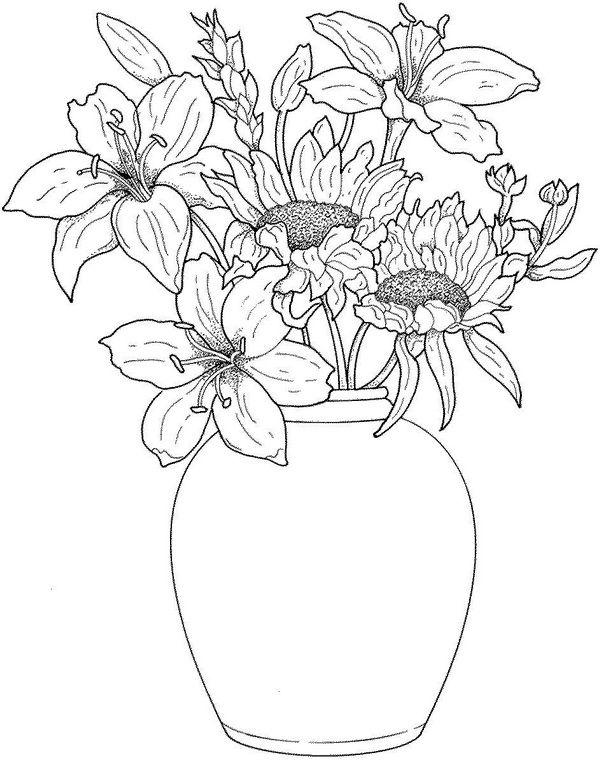 Картинка цветы в вазе раскраска