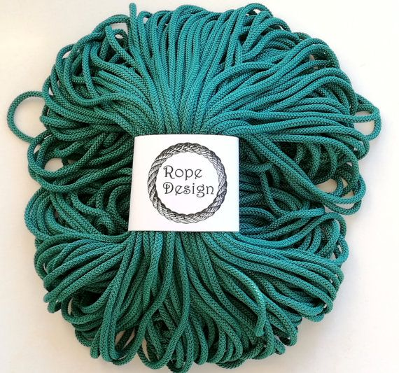 Spruce green glossy 5 mm soft rope Textile cord 6mm cord 100m chunky rope Colored nylon craft cord Macrame project Polyester strong cord