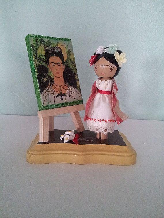 Frida Kahlo Clothespin Doll  sur mesure par LittleBun sur Etsy