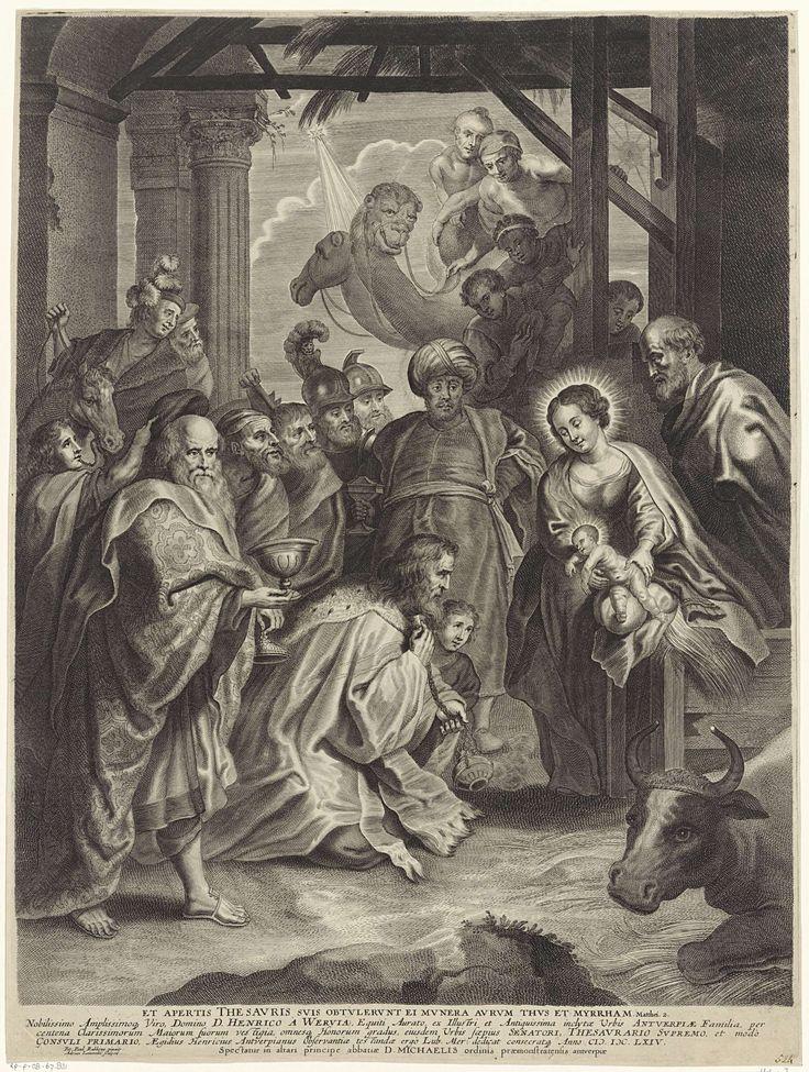 Adriaen Lommelin   Aanbidding der koningen, Adriaen Lommelin, 1630 - 1677   Maria en Jozef tonen het Christuskind aan de drie koningen. De drie bieden het kind hun geschenken aan. Leden van hun gevolg kijken toe.