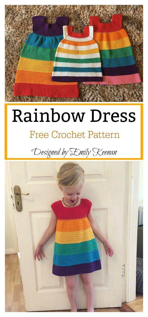 Regenbogen-Kleid Kostenlose Häkelanleitung #hakelanleitung #kleid ...