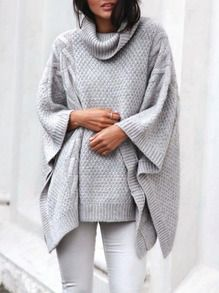 Grey Long Sleeve Loose Sweater S.R.112.48
