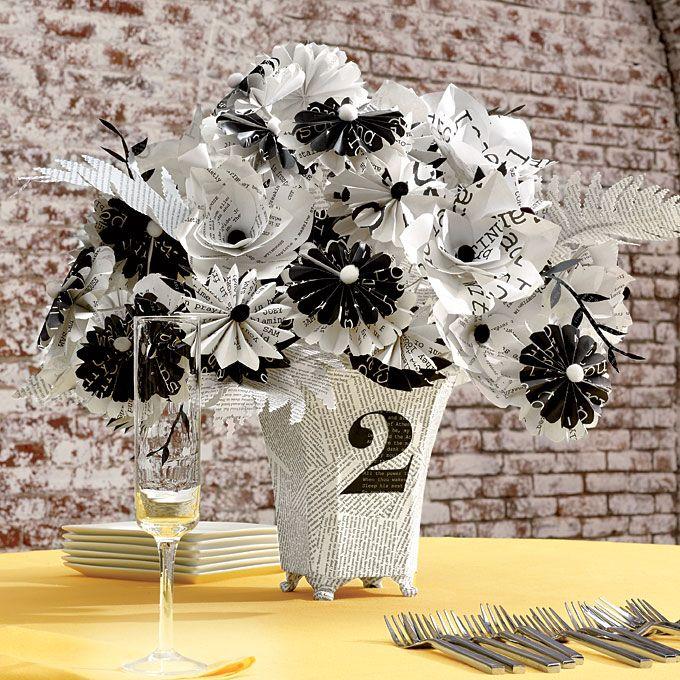 Paper Flower Arrangement Ideas: Unique Wedding Idea: Typography-Inspired Details