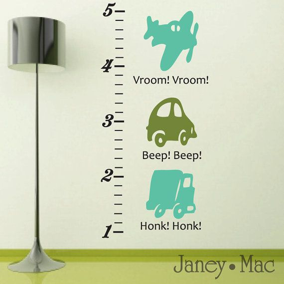 Car Wall Decal - Growth Chart Wall Decal Transportation - Childrens Truck Plane Wall Decal - Boy Bedroom Vinyl Wall Art Sticker - CC101 on Etsy, $44.57 CAD
