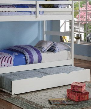 "Add an extra bed to a room with this convenient trundle bed. Slide it underneath another bed and pull it out for a little one's friend during a sleepover and easily hide it back away the next morning. Trundle is pine, measures 74""L x10""H x 39""W. Mattress is not included."