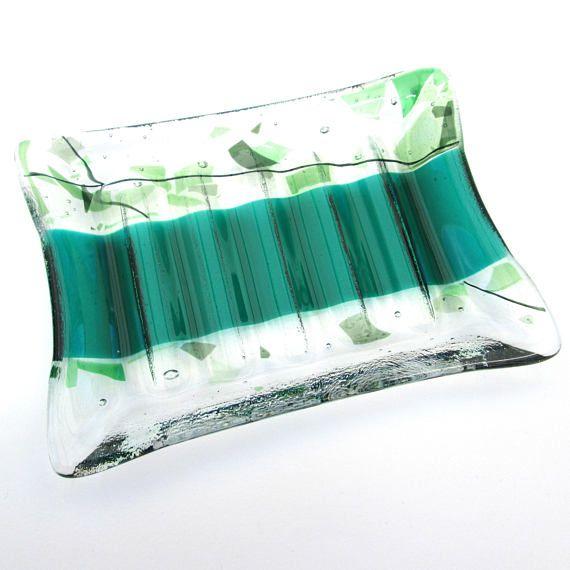 Green soap dish glass ridged dish handmade ribbed glass