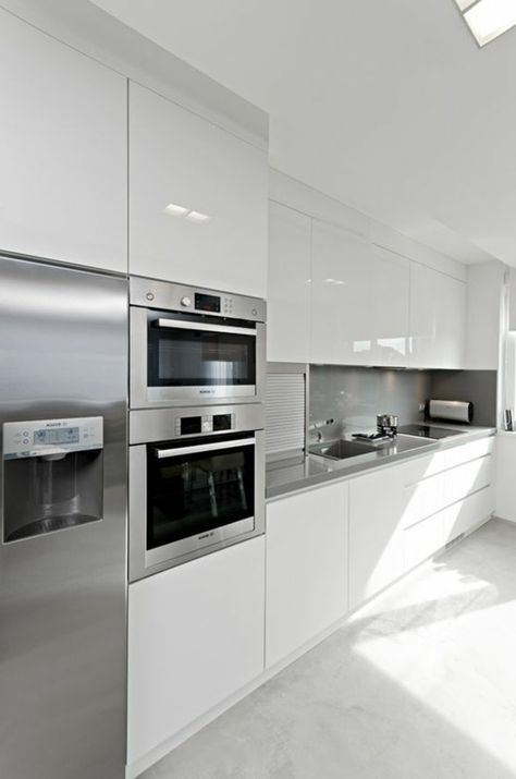 1001 ideas de decorar vuestra cocina blanca y gris for Cocinas modernas blancas 2016