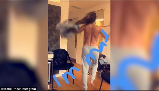 Raunchy:In an Instagram video uploaded to her Insta-stories, Katie Price was seen getting ready in her ITV dressing room, before performing a strip tease and taking all of her clothes of for the camera