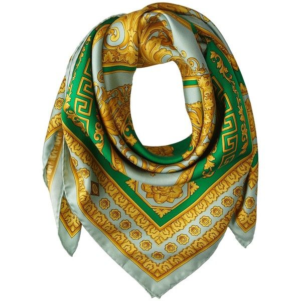 Versace Collection Intricate Greca Scroll Foulard (4.750 ARS) ❤ liked on Polyvore featuring accessories, scarves, green, print scarves, green silk scarves, green shawl, green scarves and antique shawl