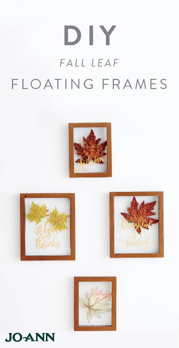 Can you say charming? This Fall Leaf Floating Frame Wall Decor idea is perfect for Thanksgiving—mainly in part to the inspirational quotes painted on each piece! Plus, with a warm-toned color palette, these decorations are great all season long.
