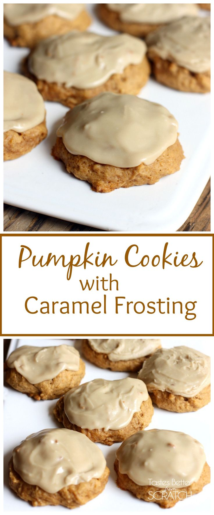 Pumpkin Cookies with Caramel Frosting - my all time FAVORITE cookies! Melt-in-your-mouth goodness!! #cookies #pumpkin #caramel