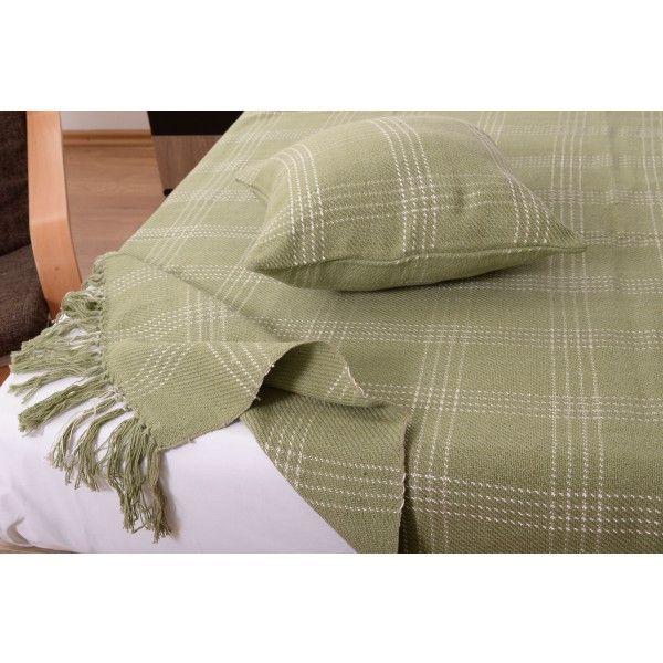 Set cuvertura cu doua fete de perna 11009 olive - Cuverturi - Dormitor - Textile