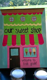 """candy theme classroom decorations   This is our """"Sweet Shop"""" positive reinforcement system. Each jar has ..."""