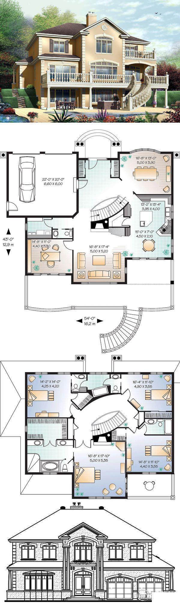 #Luxus #HousePlan 65472 | Dieses prächtige Haus ist sowohl von vorne als auch v…  # Houses & Places