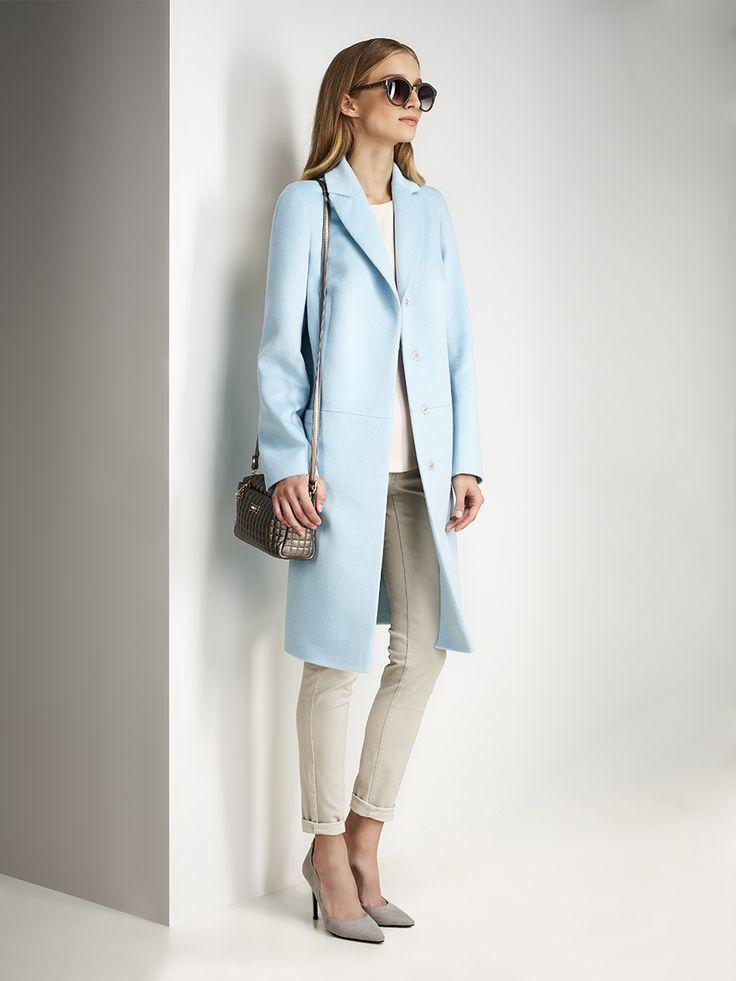 Пальто женское демисезонное цвет светло-бирюзовый, Пальтовая ткань, артикул 3017740p10051
