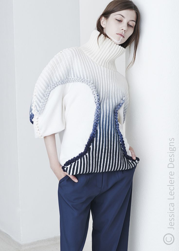 Sculptural Knitwear Design - sweater with blue ombre trim detail // Jessica Leclere