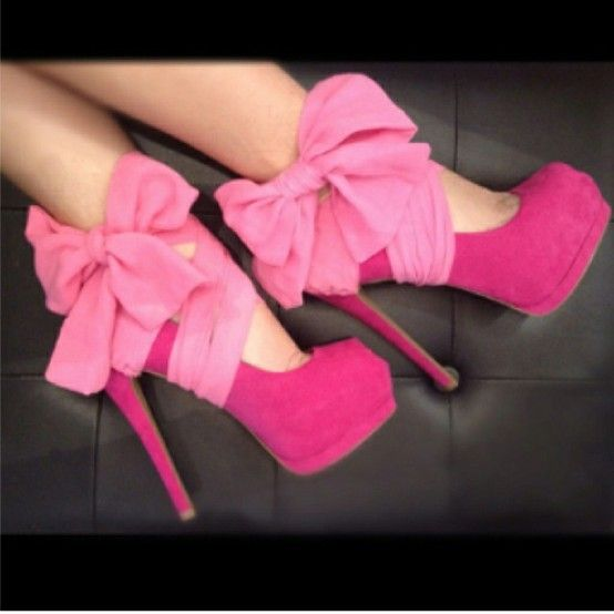 Pink Bow Shoes: Fashion, Style, Clothing, Pink Heels, Pink Bows, Pump, High Heels, Pink Shoes, Pretty