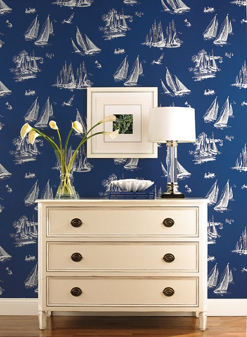 Sailboat Toile Wallpaper Design By York Wallcoverings