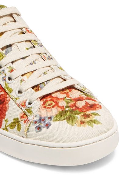 Gucci for NET-A-PORTER - New Ace Floral-print Canvas Sneakers - Off-white - IT40.5