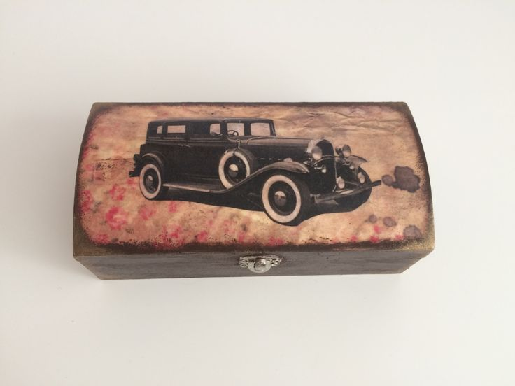 20 % sale - Handmade Wooden Decoupage Box - Jewelry Storage - Vintage looking with Retro Car by MiseEnBoite on Etsy (null)