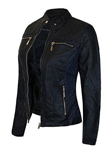 4e5a85895cb Instar Mode Women s Faux Leather Suede Zip Up Moto Biker Jacket Coat   jackets  women