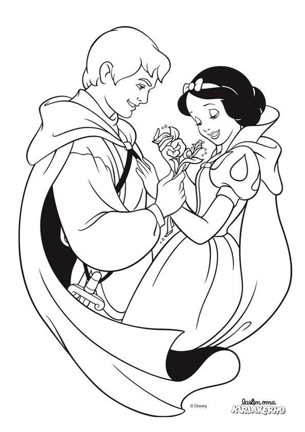 Lumikki ja prinssi -värityskuva. Snow White colouring. Lasten Oman Kirjakerhon tulostettavat värityskuvat. Free printable pattern. lasten | askartelu | käsityöt | värittäminen | DIY ideas | kid crafts | colouring