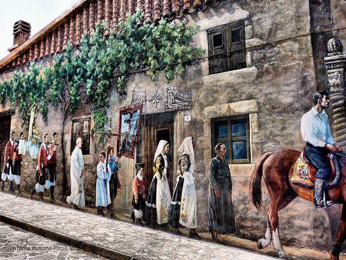 Murale  la processione Sardegna