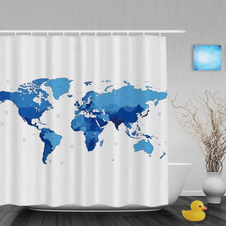 Word Map Theme Shower Cutains Traveler Collction Home Decor Blue Bathroom Shower Curtains Polyester Waterproof Fabric With Hooks