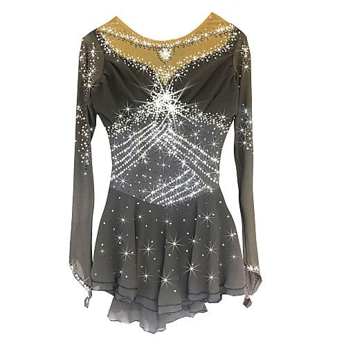 Figure Skating Dress Women's Girls' Ice Skating Dress Gray Spandex Rhinestone High Elasticity Performance Skating Wear Handmade Long 2018 - $149.99