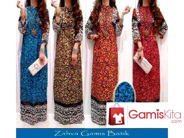 Zahva Gamis Zebra Abstrak, maxidress atau longdress dibuat dari material cerutti yang halus jatuh dan licin, kancing bukaan depan asli, motif zebra abstrak pada busana, lengan 7/8.