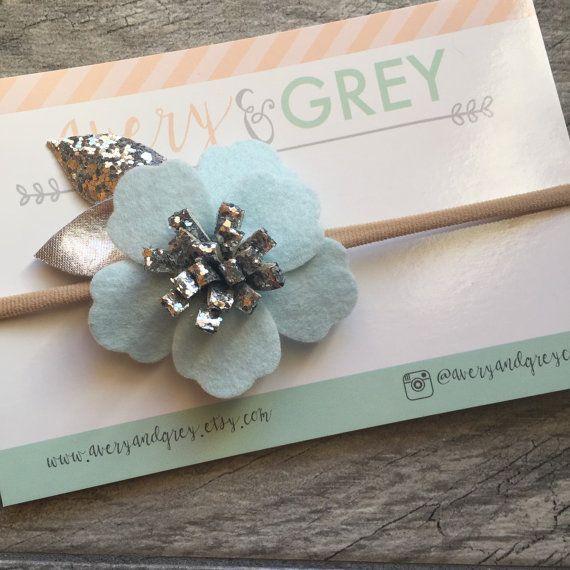 Baby Blue and Silver Flower Nylon Headband  one by averyandgrey