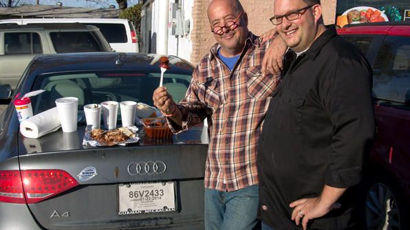 Andrew & barbecue expert Daniel Vaughn dig into food from local icon Odom's Bar-b-que in Dallas, at Daniel's favorite table: the back of his car.Tv Show, Food Photo