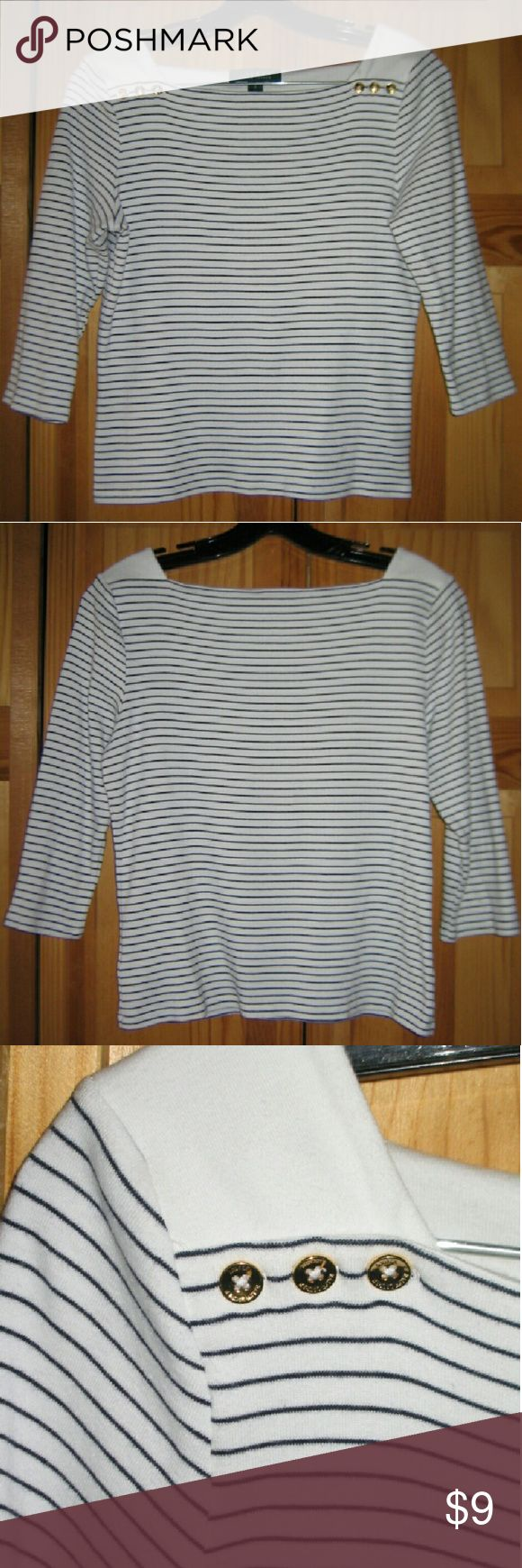 Ralph Lauren Striped Top This top is preloved but still in very good condition. It is from the LAUREN Ralph Lauren line. It is a 3/4 sleeve white with thin black stripes and features gold tone buttons near the front shoulders. It does have that nautical look to it. Made of 100% cotton. Tag size is Small. Ralph Lauren Tops