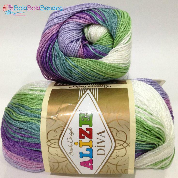 ALIZE DIVA BATIK 3681, Price: 90.000,-/gulung, Bahan: 100% Microfiber Akrilik, Berat/Panjang: 100gr/350m, Knitting Needles: 2,5mm – 3,5mm, Crochet Hook: 1mm - 3mm