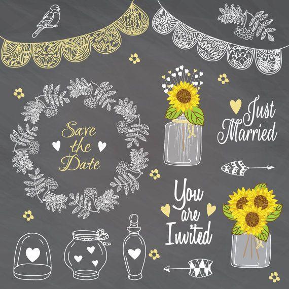 Rustic Weeding Clip art Wedding Lace Mason Jar by CutePaperStudio