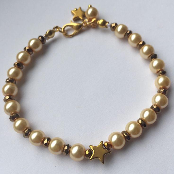Heather Bracelet Light Gold by MrsGillmore on Etsy https://www.etsy.com/listing/256359426/heather-bracelet-light-gold