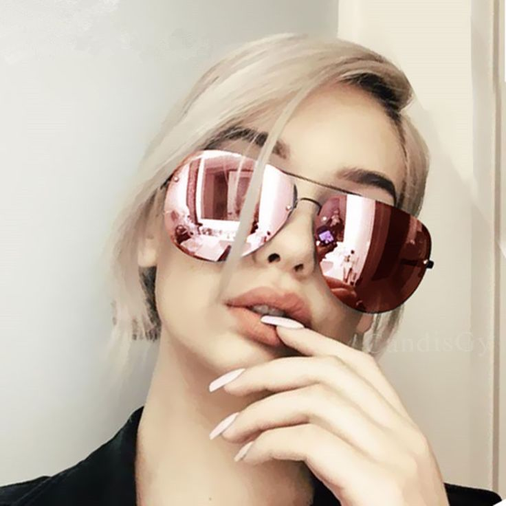 New Arrival Rose Gold Sunglasses Women Brand Designer 2017 Oversize Rimless Sunglass Female Sun Glasses Women Sunglass Mirror