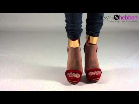 Rood met gouden hoge hakken Sandy - Diewilikhebben.com