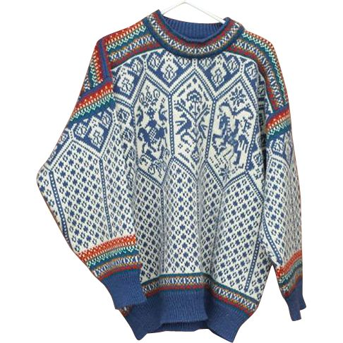 Mens Vintage Dale of Norway wool sweater designed for Norwegian ski team for  the Lillehammer Olympics in 1994 Size XXL.  Offered at an introductory
