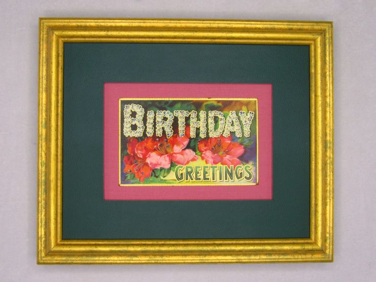 Birthday Greeting antique double matted postcard.  Wall Art Decor. A perfect birthday gift. Beautiful colors. Standard size. Eco-friendly. by PopArtPaperAmericana on Etsy