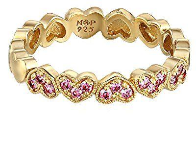 Myia Passiello Timeless Hearts Swarovski Pure Brilliance Pink Zirconium Multiple Hearts Ring