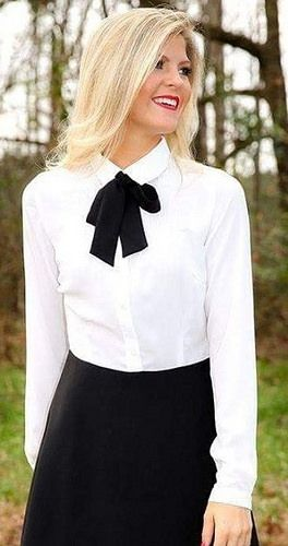 In Proper Work Outfit With White Shirt Black Bow And Skirt Awesome