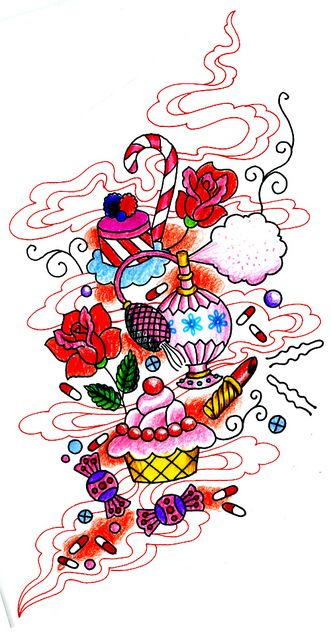 Drawing for Girly Tattoo- Sunny Buick I like this... Minus the drugs... LOL!