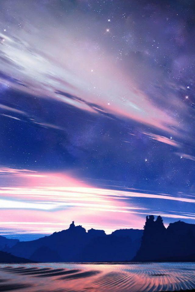Mountain Field Starry Skyview #iPhone #4s #wallpaper