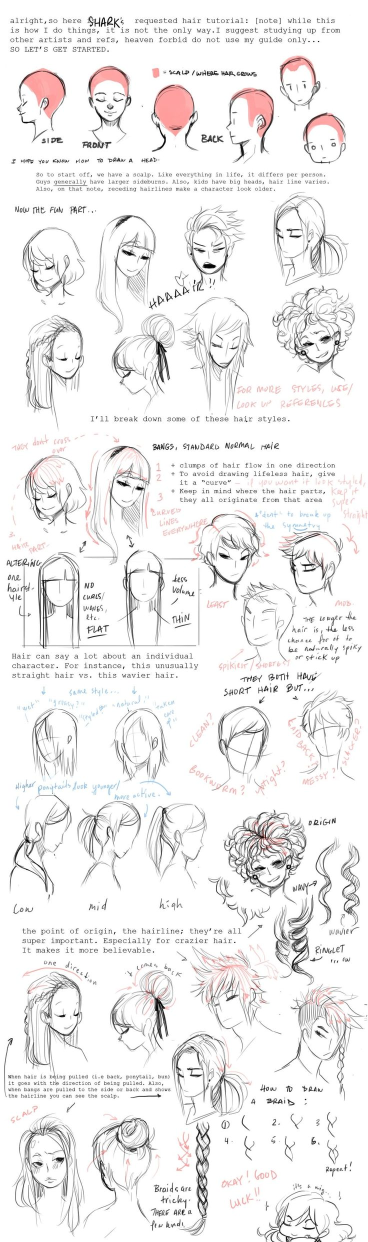 Tutorial: Hair ----Manga Art Drawing Sketcing Hairstyle Girl Women----