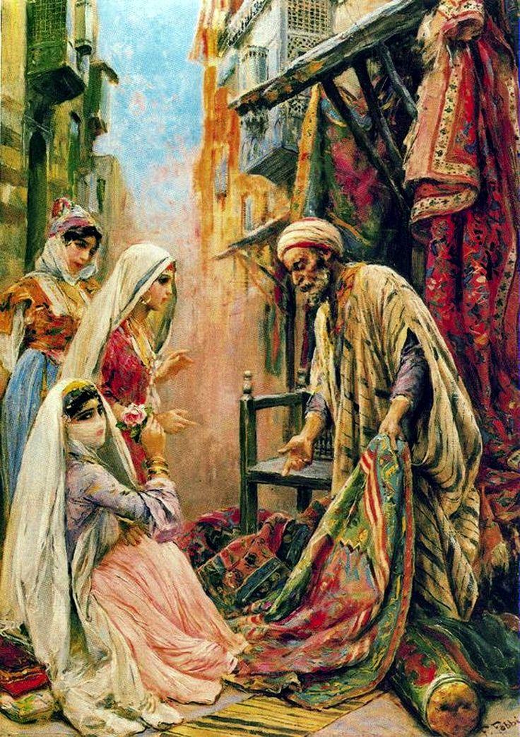 Egypt , Old Cairo Paintings: Fabio Fabbi (Italian Painter, 1861-1946) - Venditore Ambulante di Tappeti