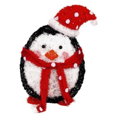 "24"" Lighted Crystal Tinsel Penguin Outdoor Décor Figurine"
