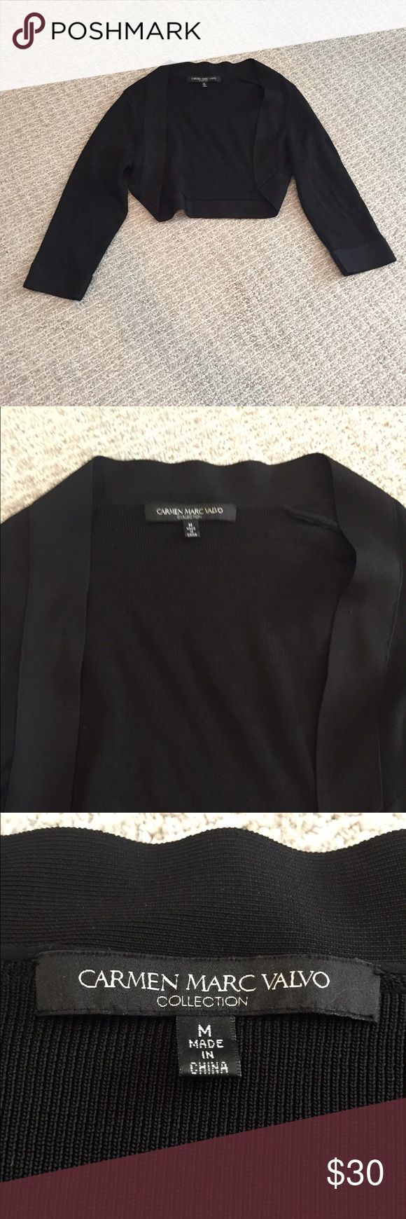 Carmen Marc Valvo Cropped Black Sweater! High fashion, perfect condition crop sweater for a fancy night out! Never worn. 95% Rayon, 5% Nylon. Carmen Marc Valvo Sweaters
