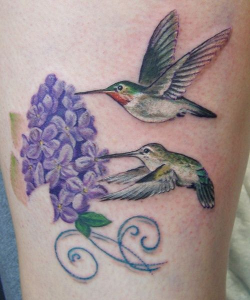 hummingbird tattoos...love the lilac in here